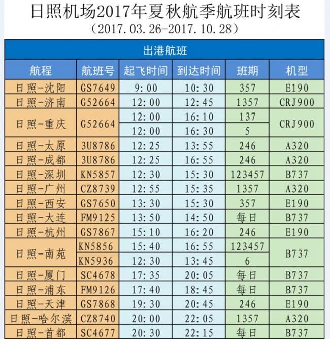 最新!日照机场2017年夏秋航季航班时刻表,大巴时刻表出炉了!